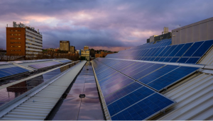 Solar array during storm